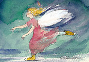 Skating Paintings - Skating Angel by Kristiina Kostia