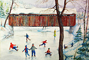 Snow Covered Pine Trees Paintings - Skating At The Bridge by Philip Lee