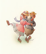 Greeting Cards Drawings - Skating Ducks 11 by Kestutis Kasparavicius