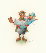 Christmas Drawings Originals - Skating Ducks 13 by Kestutis Kasparavicius