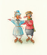 Christmas Greeting Originals - Skating Ducks 14 by Kestutis Kasparavicius