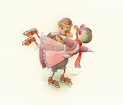 Greeting Card Drawings Posters - Skating Ducks 2 Poster by Kestutis Kasparavicius
