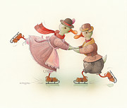Winter Greeting Cards Prints - Skating Ducks 3 Print by Kestutis Kasparavicius