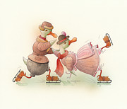 Winter Greeting Cards Prints - Skating Ducks 4 Print by Kestutis Kasparavicius
