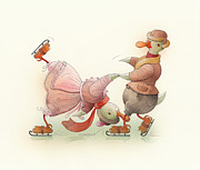 Winter Greeting Cards Prints - Skating Ducks 5 Print by Kestutis Kasparavicius
