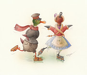 Winter Greeting Cards Prints - Skating Ducks 7 Print by Kestutis Kasparavicius