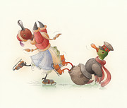 Greeting Cards Drawings - Skating Ducks 8 by Kestutis Kasparavicius