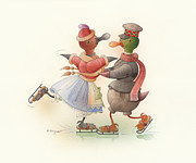 Winter Greeting Cards Prints - Skating Ducks 9 Print by Kestutis Kasparavicius