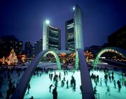 Skaters Prints - Skating In Nathan Phillips Square, City Print by Peter Mintz