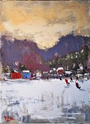 Skating Paintings - Skating in New England by Russ Potak