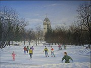 Winter Scene Paintings - Skating on the Duck pond by Sid Ball