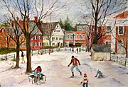 New England Village  Paintings - Skating on the Green by Sherri Crabtree