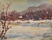 Skating Paintings - Skating on Winter Pond  by Russ Potak