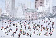 Skyscrapers. Painting Posters - Skating Rink Central Park New York Poster by Judy Joel