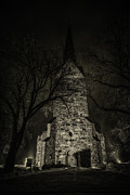 Dark Green Framed Prints - Skedsmo church at night Framed Print by Erik Brede