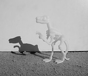Toys Digital Art - SKELETON DINOSAUR and HIS SHADOW in BLACK AND WHITE by Rob Hans