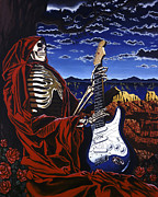 Blues Guitar Paintings - Skeleton Dream by Gary Kroman