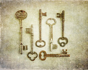 Foyer Posters - Skeleton Key Print of Vintage Key Arrangement Poster by Lisa Russo