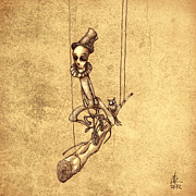 Scary Drawings Prints - Skeleton On Cycle Print by Autogiro Illustration