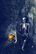 Jack O Lantern Photos - Skeleton With Jack O Lantern by Christopher and Amanda Elwell