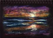 Nj Pastels - Sketch for Cool Morning Beach by Peter R Davidson