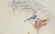 Transportation Drawings Prints - Sketch of a Young Woman in a Boat Print by Berthe Morisot