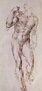 Nude Framed Prints - Sketch of David with his Sling Framed Print by Michelangelo Buonarroti