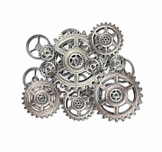 Gear Mixed Media Metal Prints - Sketch Of Machinery Metal Print by Michal Boubin
