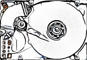 Storage Mixed Media Prints - Sketch Of The Hard Disk Print by Michal Boubin