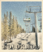 Vintage Looking Framed Prints - Ski Colorado Framed Print by Juli Scalzi