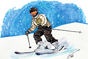 Ski Drawings Prints - Ski Print by Dave Olsen