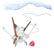 Skiing Art Prints Painting Prints - Ski Fail Print by Leah Wiedemer