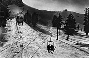 Lifts Framed Prints - Ski Lifts At Squaw Valley In California Framed Print by Underwood Archives