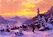 Norwegian Sunset Paintings - Ski by Pg Reproductions