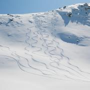 Snow-covered Landscape Photo Prints - Ski Tracks In The Snow On A Mountain Print by Keith Levit