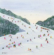 Snowfall Paintings - Ski vening by Judy Joel