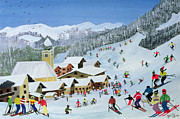Mountain Snow Landscape Paintings - Ski Whizzz by Judy Joel