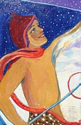 Ski Paintings - Skiers Exhalation by Avonelle Kelsey