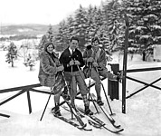 Taking A Break Framed Prints - Skiers Takes A Break Framed Print by Underwood Archives