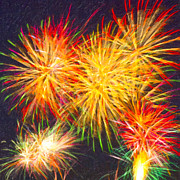 4th July Digital Art Posters - Skies Aglow With Fireworks Poster by Mark E Tisdale
