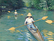 Paddles Paintings - Skiffs by Gustave Caillebotte