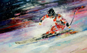 Skiing Art Painting Posters - Skiing 01 Poster by Miki De Goodaboom