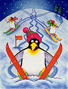 Christmas Card Painting Framed Prints - Skiing Holiday Framed Print by Cathy Baxter
