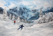 Italian Wine Paintings - Skiing in Italy by Jean Walker
