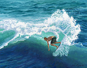 Perfect Wave Framed Prints - Skimboard Surfer Framed Print by Alice Leggett
