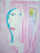 Whimsical Pastels Posters - Skinny Girl with a Margarita Poster by Quentin H Willis