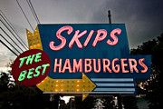 Burger Prints - Skips Hamburgers Print by K Hines