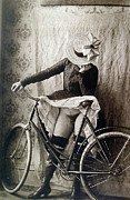 Frontal Nude Framed Prints - Skirt UP Bicycle Rider Framed Print by Unknown