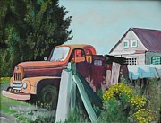Landmark Drawings Prints - Skokomish Valley Firetruck  Print by Terri Thompson