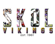 Pro Football Digital Art Prints - Skol Print by Glenn Davis